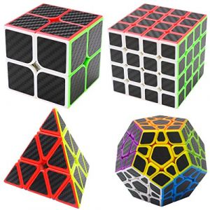 Speed Cube Ensemble 2x2x2,4x4x4,Megaminx,Pyraminx 4 Pack Coolzon® Nouveau Cubo Autocollant de Carbone Fibre Ultra Rapide (Easehome, neuf)