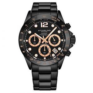 Stührling Original - Montre chronographe pour Homme, Bracelet en Acier Inoxydable avec Couronne vissée et étanche à 100 M. Mouvement à Quartz avec Cadran analogique (Black) (Timeworks International, neuf)