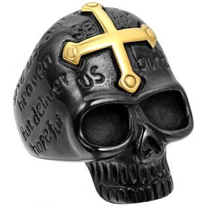 JewelryWe Bague Fantaisie Crâne Gothique Tête de Mort avec Croix Or en Acier Inoxydable Anneau pour Homme #9 Taille de Bague 59.5 (JewelryWe Bijoux, neuf)