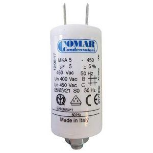 Comar Condensateur pour moteur 5. 0 uF 450 VAC, MKA 450-5 PLA-C8 FD (PIECES CHAUFFAGE, neuf)