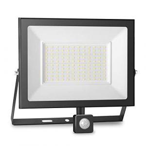 100W Projecteur à Détecteur de Mouvement à LED,10000LM Projecteur à LED Extérieur,6000K Projecteur LED Avec Détecteur IP65, Adapté à l'éclairage Intérieur et Extérieur,jardins [Blanc Froid] (Super-Light, neuf)