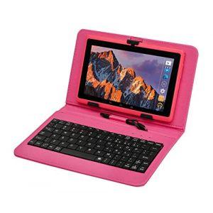 Tablette Tactile Ecran 7 Pouces, Tablet PC avec Clavier(AZERTY) Android Quad Core Ordinateur Portable, 8Go ROM, Double Caméras, WiFi, Bluetooth, Livré avec Stylo Tactile (Rose) (GBL Eur, neuf)