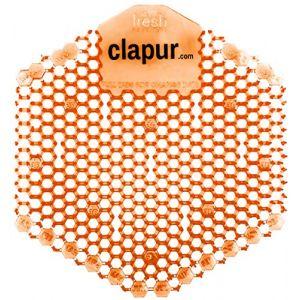 Écran pour urinoir Clapur (2 pièces) avec parfum mangue, indicateur de remplacement et protection contre les projections, pour chaque pissoir et urinoir, angulaire, orange (FA-Trade, neuf)