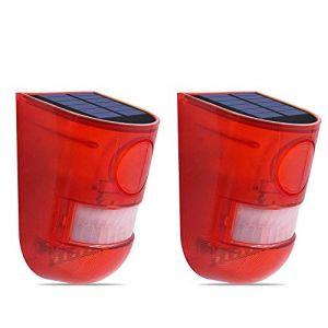 Lampe Solaire Extérieur Détecteur de Mouvement éclairage Alarme de Sécurité d'urgence LED Stroboscopique Lampe de Jardin sans fil (2 Pack) (HanGang, neuf)