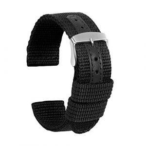 Ullchro Nylon Bracelet Montre Haute Qualité Toile Bracelet Montre Armée Militaire - 18mm, 20mm, 22mm, 24mm Montre Bracelet avec Acier Inoxydable Boucle (18mm, Noir) (Ullchro-EU, neuf)