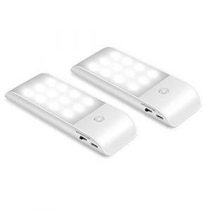 Veuilleuse LED Automatique[2 pack],Lumière de nuit,Lampe Détecteur de Mouvement Portable,3 modes (auto/on/off),détection de mouvement LED éclairage pour armoire,couloir,escalier,placard,tiroir (Mofan Decoration, neuf)