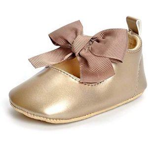 ESTAMICO Chaussure bébé Premier Pas Ballerines bébé Fille,Doré 12-18 Mois (Lacofia, neuf)