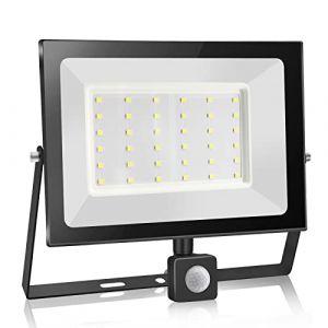 30W Projecteur à Détecteur de Mouvement à LED,3000LM Projecteur à LED Extérieur,6000K Projecteur LED Avec Détecteur IP65, Adapté à l'éclairage Intérieur et Extérieur,jardins [Blanc Froid] (Super-Light, neuf)