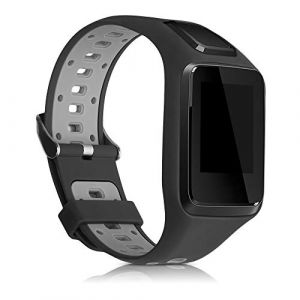 kwmobile Bracelet Compatible avec Tomtom Adventurer/Runner 3/Spark 3/Golfer 2 - Bracelet de Rechange en Silicone pour Fitness Tracker Noir-Gris (KW-Commerce, neuf)
