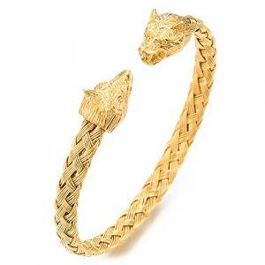 COOLSTEELANDBEYOND Tête de Loup Bracelet Homme d'Acier Inoxydable - Bracelet Manchette Tressé Câble - Couleur Or - Réglable (iMECTALII EU, neuf)