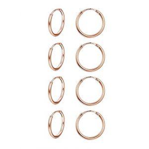 Finrezio Boucles d'Oreilles Créole Piercing Hélix Petites Anneaux en Argent Sterling 925 pour Femmes Homme 4 Paires Or Rose (Finrezio Jewelry, neuf)