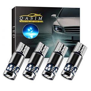 Qasim 4x LED T10 W5W Ampoules Canbus Sans Erreur Wedge 168 Glace Bleue 2016 18-SMD pour Voiture Lumière de Dôme Intérieur Liseuse Feu arrière DC9-28V Hétéropolarité cconstante (Qasim auto parts, neuf)