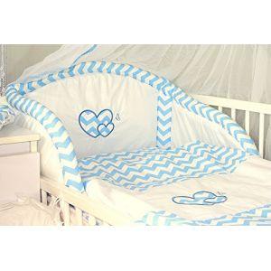 Baby's Comfort Parure de lit bébé ENSEMBLE DE 6 PIÈCES DE LITERIE CHOIX COULEURS HEARTS (s'adapte lit 140x70 cm, 4) (Baby's Comfort, neuf)