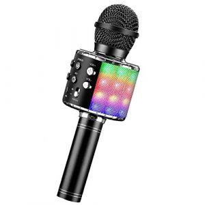 ShinePick Microphone Karaoke Sans Fil, Karaoké Microphone Bluetooth Portable pour Enfants/Adultes Chanter, Compatible avec Android/IOS/PC/Smartphone (Noir) (BraveKoi Store, neuf)