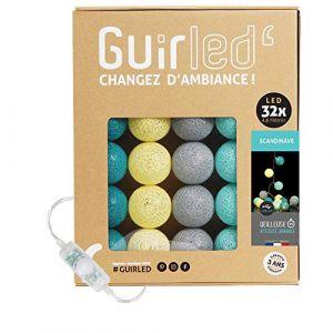Guirlande lumineuse boules coton LED USB - Veilleuse bébé 2h - Adaptateur secteur double USB 2A inclus - 3 intensités - 32 boules 4.8m - Scandinave (Lighting Arena, neuf)