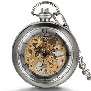 JewelryWe Montre de Poche Gousset Squelette Mécanique Manuel Transparente Chiffres Romains Pendentif Collier Alliage pour Homme Femme Chaîne Longueur 38cm (JewelryWe Bijoux, neuf)