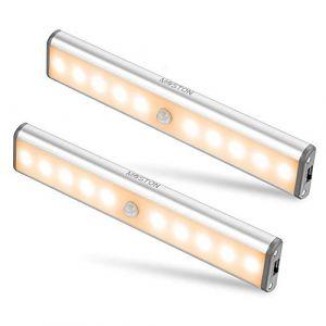 Lampe Armoire,Éclairage d'armoire à détecteur de mouvement,éclairage d'armoire de rangement sans fil à vec batterie rechargeable intégrée,éclairage de nuit magnétique à coller,pour placard de cuisine (KXZL, neuf)