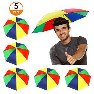 Heqishun 5 Pcs Chapeaux de Parapluie avec Bande élastique, Parapluie Parasol Chapeau Pliable, Parapluie Chapeau Coloré de Pêch pour Adultes Enfants Golf Campant (heqishunEU, neuf)