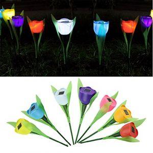 Lot de 5lampes solaires de jardin en forme de tulipe - Lampes LED - Lampes de nuit décoratives (GFEU, neuf)