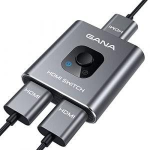 Switch HDMI, GANA Commutateur HDMI Bi-Direction Splitter HDMI Manuel, 1 Entrée vers 2 Sorties ou 2 Entrées vers 1 Sortie Switcher, Supporte 4K 3D 1080P HDCP pour HDTV Blu-Ray DVD DVR Xbox etc. (IGree, neuf)