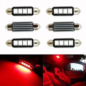 Ralbay 6 X 41mm/42mm 4 SMD C5W LED Ampoule Feston de Voiture Lampe de Lecture/Coffre C5W Lampe de Plaque d'Immatriculation 5050 Canbus Décodage Haute Luminosité(Rouge) (Oppsun-EU, neuf)