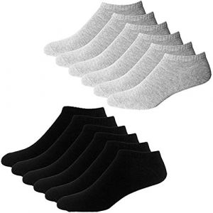 YouShow Chaussettes de Basket Hommes Femmes 10 Paires Chaussettes mi Chaussettes Courtes Coton Unisexe OEKO-TEX Standard 100(Noir et Gris,47-50 EU) (YOUSHOW, neuf)