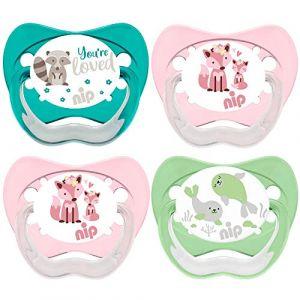 NIP Lot de 4 tétines en latex naturel pour fille Taille 3 16-32 mois Fabriqué en Allemagne (babywaren24, neuf)