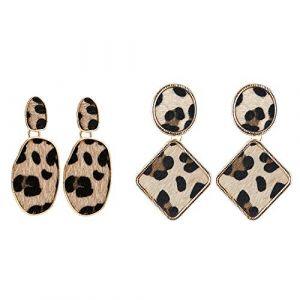 Eizur 2 Paires Boucle d'oreille, Mode Boucles d'oreilles Léopard Bijoux Cadeaux Femmes (Jialiangda, neuf)