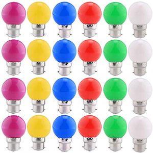 24 Pack ampoules LED de couleur B22 ampoules lanterne à baïonnette 2W, violet, vert, bleu, rouge, jaune, blanc chaud, Noël, arbres, veilleuses de fête de fée [Classe A Energy +] (AWSEU, neuf)