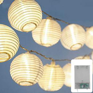 CozyHome Guirlande lumineuse à lampions à LED avec 20 LED de 7 m avec minuteur Blanc chaud Guirlande lumineuse d'extérieur 8 modes de réglage Guirlande lumineuse à piles pour l'intérieur (LEHARO, neuf)