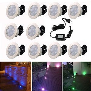 Spot Encastrable LED pour Terrasse,Mini Spot Encastré en DC12V IP67 Etanche Ø60mm Acier Inoxydable Exterieur luminaire,Eclairage pour Jardin,Couloir (RGB, 10 KIT) (CHENXU, neuf)