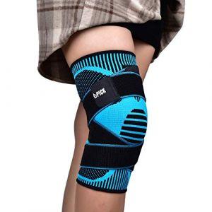 Genouillère Rotulienne et Ligamentaire, Genouillere Sport de Compression Genouillère Arthrose Knee Brace Pour CrossFit, Course à Pied, Prévention la Douleur Articulaire/Bleu L (U-picks, neuf)