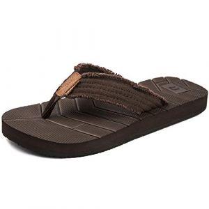 Tongs Sport Ete Hommes Sandales Plage Comfort Chaussures de Piscine Legere Antiderapantes,Marron,43 EU (EU-HUREN, neuf)