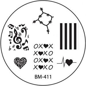 Pochoir de stamping # 411Kit de (bm411) ° ° stoffflicken, cœur, amour, xoxoxo, clés, notes, Note de musique ° ° (NAILART & MEHR, neuf)