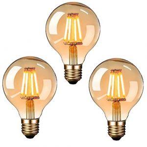 Ampoule Edison LED, massway Ampoule Edison Vintage G80 E27 4W Rétro Filament Ampoule décorative 2700K Blanc Chaud Antique Lampe Ampoule Incandescente - 3 pièces (Zacocos, neuf)