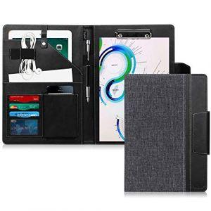 Toplive Portfolio A4 en cuir PU, porte document, portfolio cuir Magnetique Range Documents Porte-bloc pour réunion/bureau/carte de visite professionnel/dossier de conférence,Noir (Toplive FR Technology, neuf)