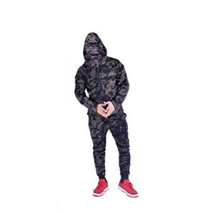 ENFANTS Sports militaire de camouflage Hododied Survetement 2pieces Contraste - Noir - 7-8 ans (MyMixTrends, neuf)
