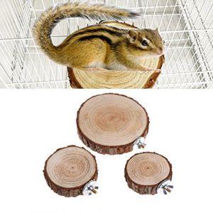 Perchoir en bois rond pour chinchilla, écureuil, animal de compagnie, perroquet, cage à oiseaux, perroquet, plate-forme ronde en bois pour chinchilla, écureuil, oiseaux (newwyt, neuf)