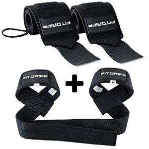 Fitgriff® Bande Poignet + Sangles de Levage de Musculation (Ensemble) / Protego Poignet + Sangle Sangle de Tirage Musculation/Wrist Wraps + Lifting Straps (Black) (Fitgriff, neuf)