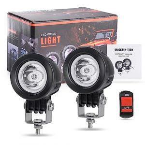 Phare Led Moto, EKLAMP 2inch 10W LED Phares de Travail Projecteur,Phare de Travail à LED, Feux Additionnels Moto, 3600LM 6500K 12V IP68 for ATV, LED Moto (2Pcs) (kaishunshunfa, neuf)