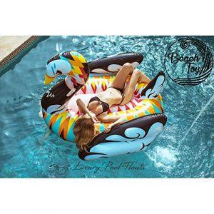 BEACHTOY Matelas Gonflable Cygne Design Bouée Géante 2-3 Personnes 190 x 190 x 130 cm Taille Géante (Beautyful Center, neuf)