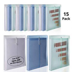 Pochette Porte-Document A4 (Lot de 15) - Chemise Transparente Enveloppe en Plastique avec Cordon - Pochette à Rabat pour Protéger vos Documents, Certificats Pour le Bureau, l'Ecole (3 Couleurs) (Tinyyo Europe, neuf)