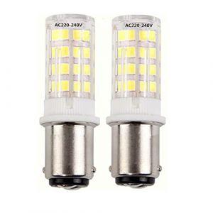 220V Ba15d lumière LED ampoule, 5W Blanc Froid 6000K 35W équivalent Double brancher ampoule, de LED Ba15d baïonnette SBC pour Machine à coudre/appareil lampes (2-PCS) (HRYSPN-FR, neuf)