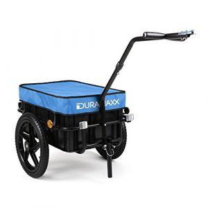 Duramaxx Big Blue Mike - Remorque pour vélo, Attelage vélo, Chariot à Main, avec Haute Barre de remorquage, Boîte de Transport avec 70 litres de Volume, Capacité de Charge: 40 kg Max, Bleu (Electronic-Star-FR, neuf)