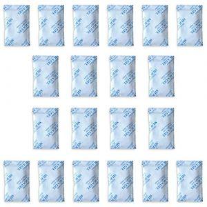 20 x 10 g. Paquets Tyvek de gel de silice E-Cron. Dessiccateur de gel de silice en sachet, pur, sûr et réutilisable. Pochettes de déshumidificateur renouvelables - Absorbe l'humidité. (RAMA Commerce, neuf)