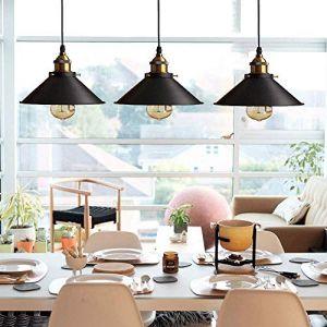 Rétro 3 Luminaires Suspension Industrielle E27-Ø22 cm, Métal Lustre Abat-jour plafonnier Intérieur Eclairage Decoratif,Noir (Domi Comfo, neuf)