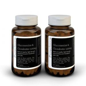 1500mg Glucosamine HLC et Chondroïtine x 360 comprimés (2 flacons de 180 comprimés chacun - 6 mois approvisionnement) (Pureclinica, neuf)