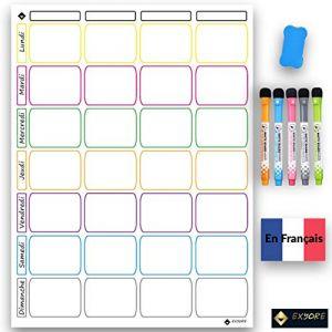 Tableau Blanc Magnétique Semainier Ardoise Effaçable pour Frigo Cuisine, avec 5 Marqueurs, 1 Effaceur, idéal pour Planification des Tâches, Menus, Projets, Organiseur Hebdomadaire Repas, en Français (EXYORE Shop, neuf)
