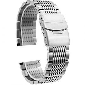 Bracelet de montre en acier inoxydable de 24 mm pour homme (Ka Tian, neuf)