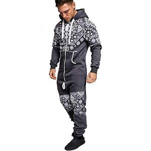 Combinaison Pyjama Homme Ensembles Capuche Grenouillere Long Adulte Salopette Jumpsuit Imprimé Zip Pantalon de Sports Muscle Zipper Youngii(Gris D,XL) (Youngii, neuf)